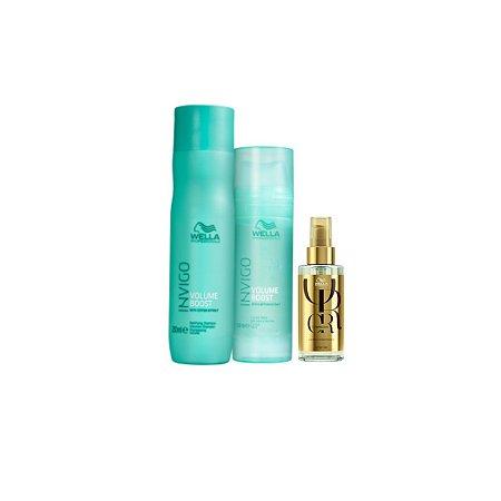 Kit Wella Invigo Volume Boost Shampoo 250ml + Máscara 145ml + Óleo Reflections Luminous 100ml