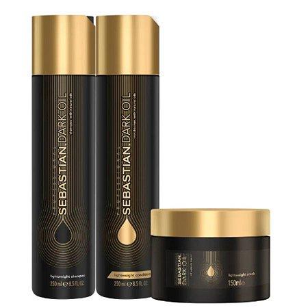 Shampoo 250ml + Condicionador 250ml + Máscara 150ml - Dark Oil Home Care Trio