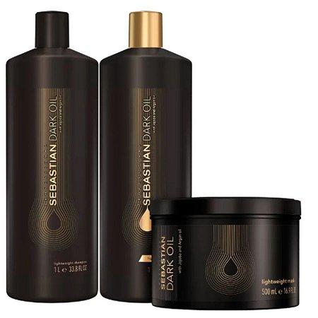 Shampoo 1L + Condicionador 1L + Máscara 500ml -  Dark Oil Salon Trio
