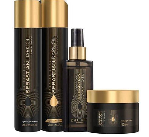 Kit Shampoo Condicionador Máscara E Óleo Sebastian Dark Oil