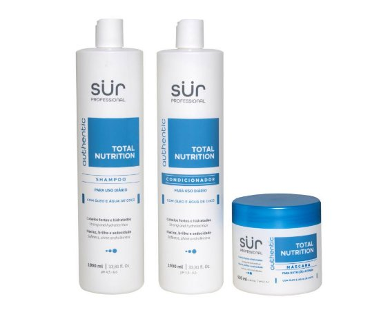 Kit Shampoo + Condicionador 1000ml + Máscara 500ml - Total Nutrition