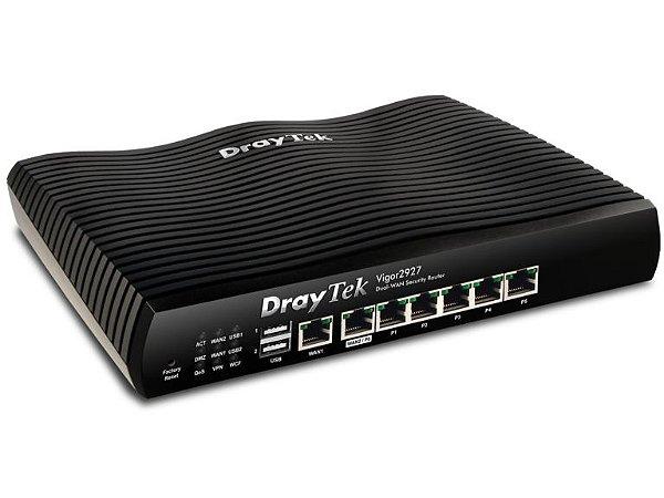 DrayTek Vigor 2927 - Load Balance, Dual WAN, 4G, WAN 500 MBPS, VPN 50 Túneis LAN-to-LAN, LAN Gigabit, VPN 50 Usuários, Firewall, Filtro de Conteúdo, VLans, Controlador AP e SWITCHS DrayTek  |Em ATÉ 60X*** para Empresas no WhatsApp