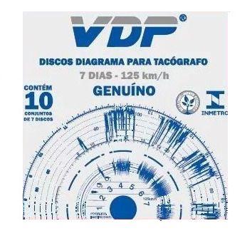 Disco Diagrama Tacógrafo Semanal 125km Vdp - 12 peças
