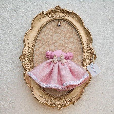 Quadro Porta Maternidade Vestidinho Princesa Rosa com LED