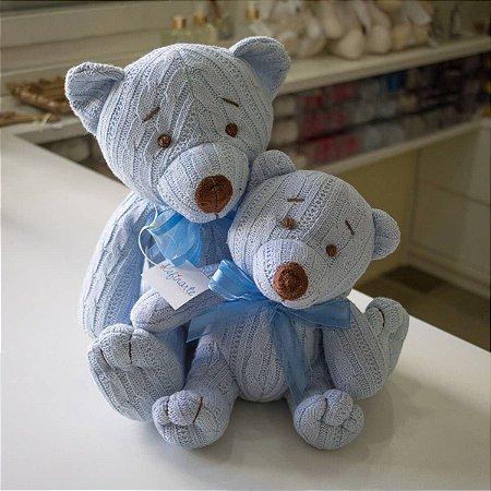 Urso Tricot Teddy Azul Tamanho Pequeno