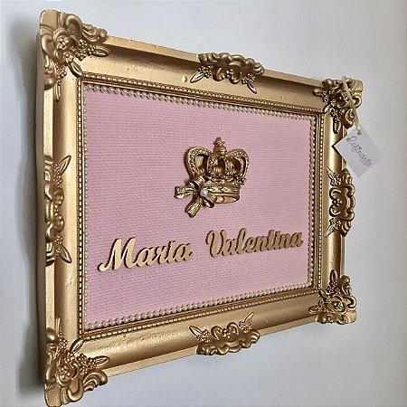 Quadro Porta Maternidade Luxe Coroa com Laço