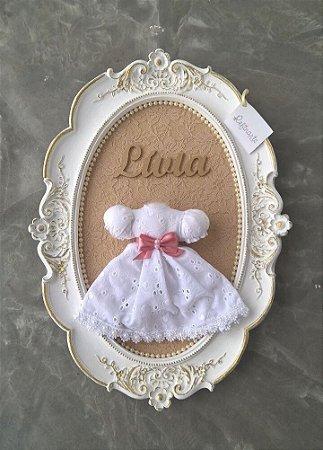 Quadro Porta Maternidade Vestidinho Princesa Branco Luxo