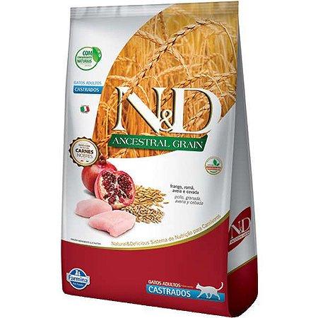 N&D Ancestral Grain Feline Castrado - Frango/Romã 400g