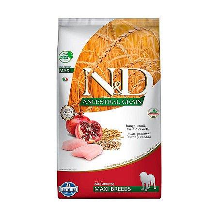 N&D Ancestral Grain Adultos - Maxi Frango/Romã 10,1kg