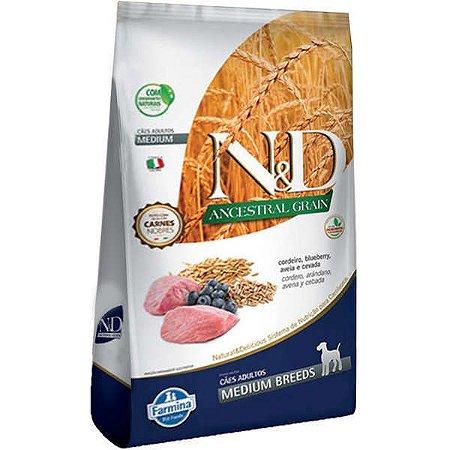 N&D Ancestral Grain Adultos - Medium Cordeiro/Blueb 2,5kg