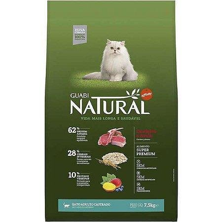 Guabi Natural Cordeiro E Aveia Para Gatos Adultos - Castrado 7,5kg