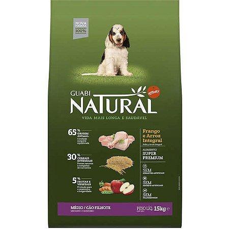 Guabi Natural Frango E Arroz Integral Para Cães Filhotes Raças Média 15K