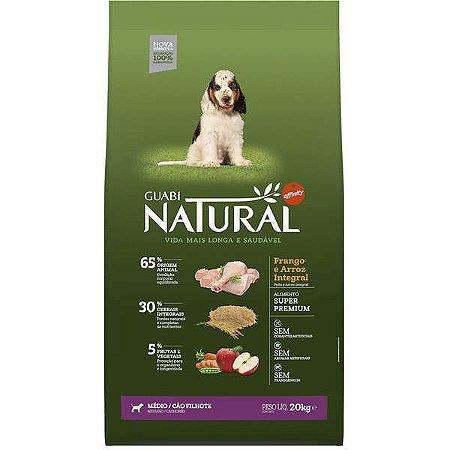 Guabi Natural Frango E Arroz Integral Para Cães Filhotes Raças Média 20K