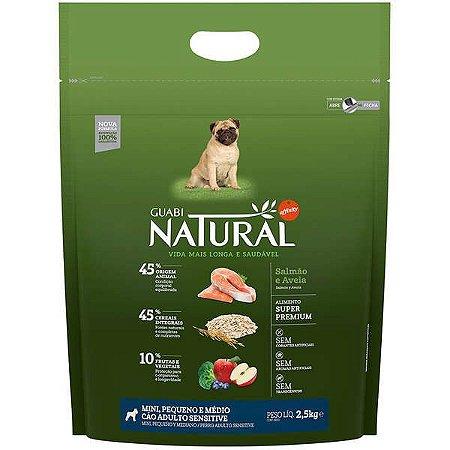 Guabi Natural Salmão E Aveia Cães Adultos - Sensitive Mini, Pequeno E Médio 2,5kg