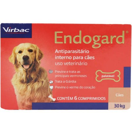 Endogard 30kg Caixa Com 6 Comprimidos