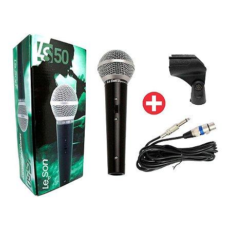 Microfone Dinâmico de Mão com Fio Leson LS-50