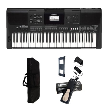 Teclado Yamaha PSR-E463 + Fonte + capa + pedal