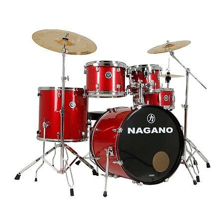 Bateria Acústica Nagano Garage Rock 22 / Wine Sparkle / Completa