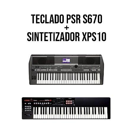 Teclado Yamaha PSR S670 + Sintetizador Roland XPS10