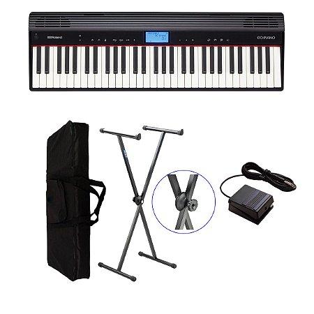 Piano Digital Roland Go61 + suporte + pedal sustain + capa