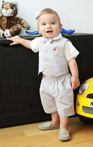Conjunto bebê camisa, bermuda e colete listrado com gravata - Bumabei