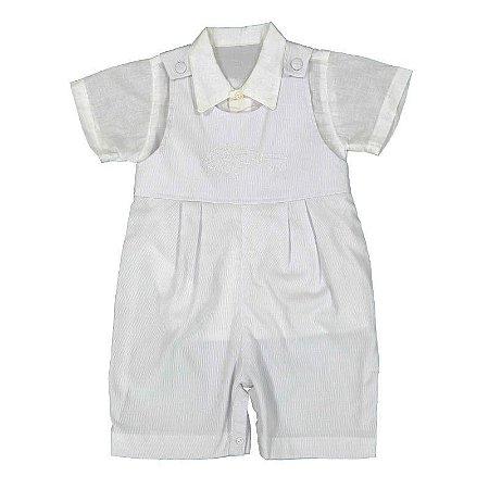Jardineira bebê em fustão branco - Bumbaei