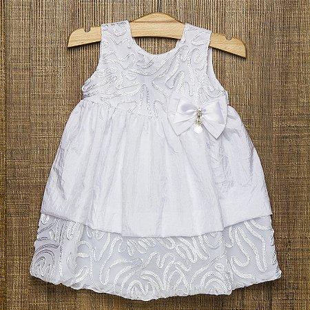 VESTIDO INFANTIL EM TAFETÁ AMASSADO BRANCO - CRIAÇÕES PÓSSUM