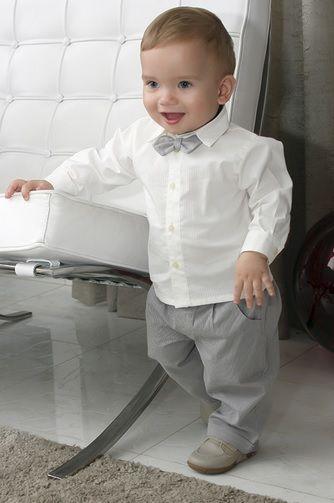 Conjunto social bebê camisa bege calça caqui e listra cinza - Bumabei