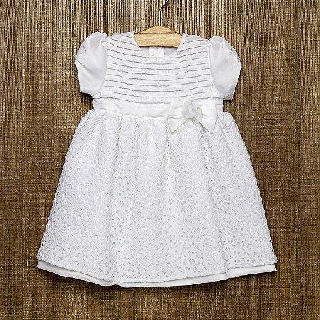 Vestido bebê em tafeta com renda - Criações Póssum