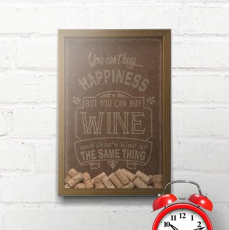 Quadro Porta Rolhas Happiness