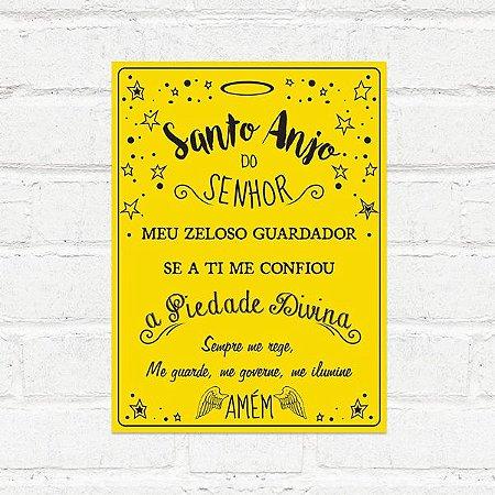 Placa Decorativa Santo Anjo Amarela