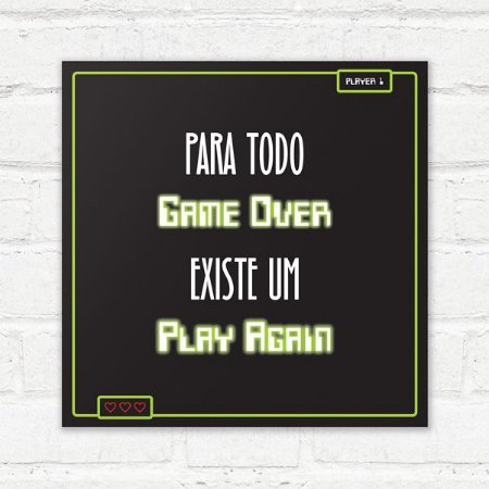 Placa Decorativa Play Again
