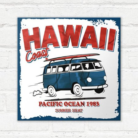 Placa Decorativa Hawaii Coast