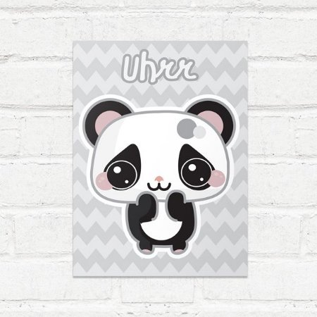Placa Decorativa Panda Kawaii