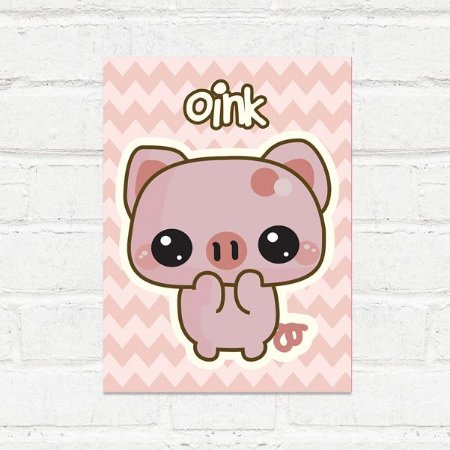 Placa Decorativa Porquinho Kawaii