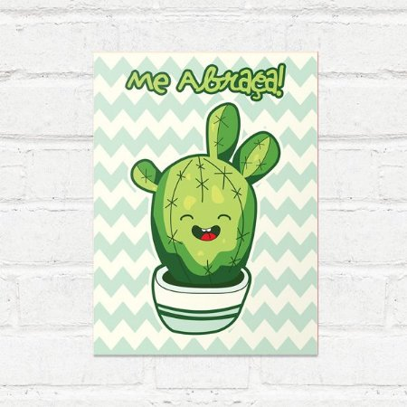 Placa Decorativa Cactus Kawaii Abraço