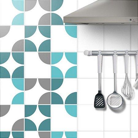 Adesivo Azulejo Circle Tiffany - kit 18pçs