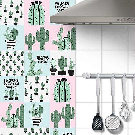 Adesivo Azulejo Cactus - kit 18pçs