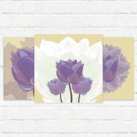 "Placas Decorativas ""Flores Vintage"""