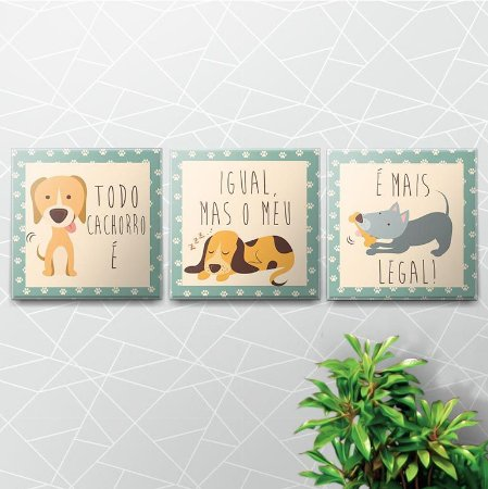 Kit Placas Decorativas Dog Lovers