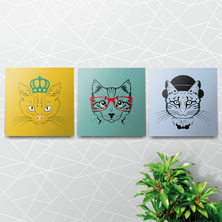 Placas Decorativas Hippier Cats