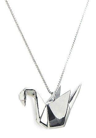 colar origami tsuru - origami tsuru necklace