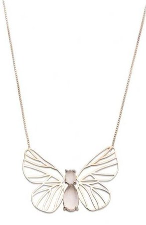 colar papillon quartzo incolor - papillon colorless quartz necklace