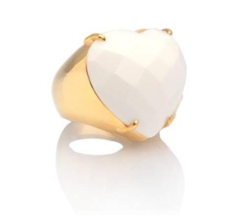 anel coeur ágata branca - coeur white agate ring