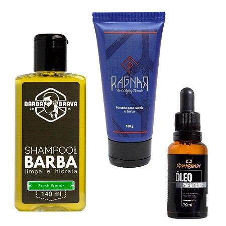 Kit p/ Barba e Cabelo Mini Fresh - Los Barbudos