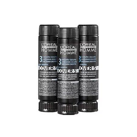 Kit c/ 3 Tonalizantes Cover 5' Castanho Escuro 3 - L'Oréal Homme