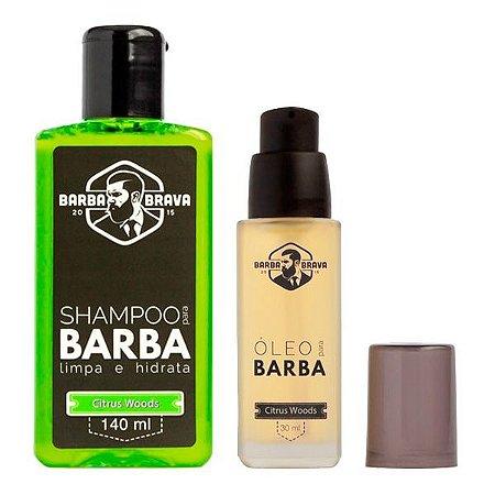 Kit Shampoo e Óleo para Barba Citrus Woods - Barba Brava
