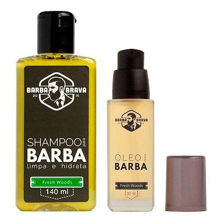 Kit Shampoo e Óleo para Barba Fresh Woods - Barba Brava