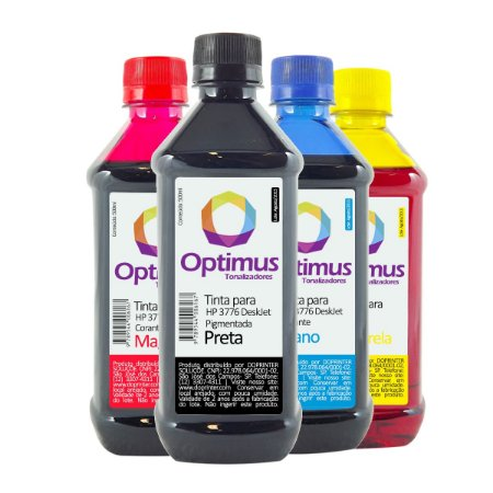 Kit 4 Tintas HP 3776 | HP 664 Optimus Preta + Coloridas 500ml