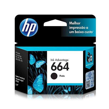 Cartucho HP 3636   2136   F6V29AB   HP 664 Preto Original 2ml